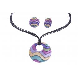 Parure fantaisie - collier époxy multicolore - 41+8 cm + boucles d'oreille assor