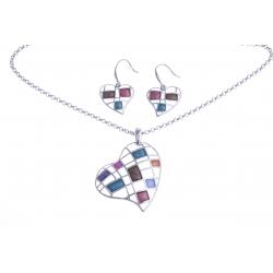 """Parure fantaisie """"coeur"""" - collier époxy multicolore - 41+8 cm + boucles d'oreil"""