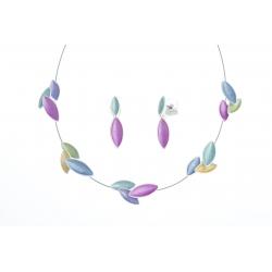 Parure fantaisie plaqué argent - collier époxy multicolore - 41+8 cm + boucles d