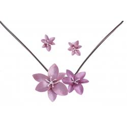 """Parure fantaisie """"fleurs"""" - collier époxy rose - 41+8 cm + boucles d'oreille ass"""