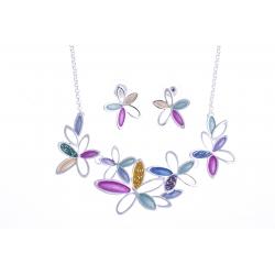 """Parure fantaisie """"fleurs"""" - collier époxy multicolore - 41+8 cm + boucles d'orei"""