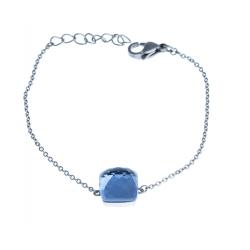 Bracelet acier - verre bleu foncé - 17+3cm