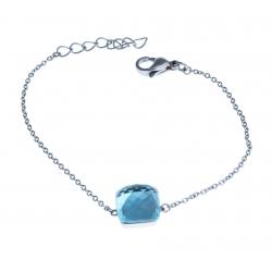 Bracelet acier - verre bleu clair - 17+3cm