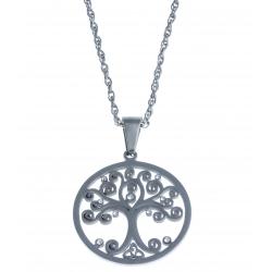 "Collier acier ""arbre de vie"" - strass - 45cm"