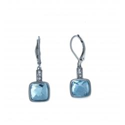 Boucles d'oreille acier - verre clair foncé - strass