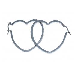 """Boucles d'oreille acier """"coeur"""" - zircons"""