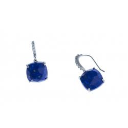 Boucles d'oreille argent rhodié 3,1g à Lapis - zircons