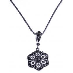 Collier argent rhodié 6,9g - marcassites - 45 cm