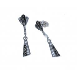 Boucles d'oreille argent rhodié 3,4g - zircons - marcassites