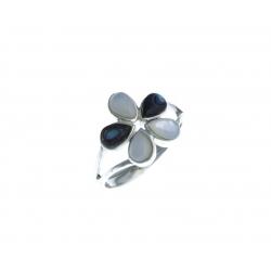 """Bague en argent 3g """"fleur"""" - nacre blanche - nacre abalone - T 50 à 60"""