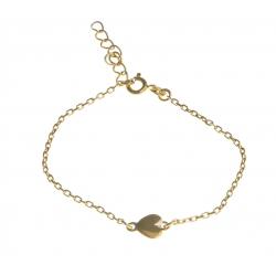 """Bracelet plaqué or """"coeur"""" - 16+3cm"""