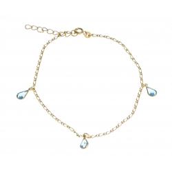 """Chaine cheville plaquée or """"gouttes"""" - cristal de swarovski - 23+3cm"""