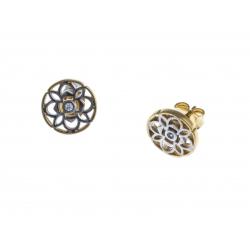 Boucles d'oreille plaquée or - 2 tons - zircons
