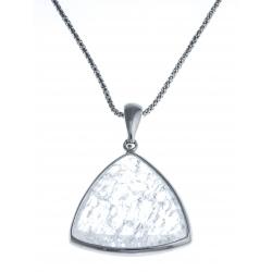Collier argent rhodié 7,7g - quartz cristal - 45cm