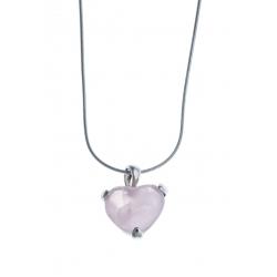 """Collier argent rhodié 4,9g """"cœur"""" - quartz rose - 40cm"""
