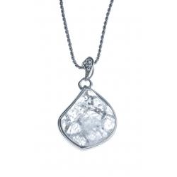 Collier argent rhodié 8,3g - quartz cristal - zircons  - 46 cm