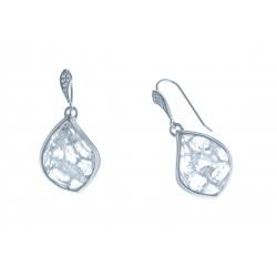 Boucles d'oreille argent rhodié 6,2g - quartz cristal - zircons