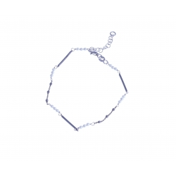 Bracelet argent rhodié 2,3g - 2 tons - perles 18,5+3 cm