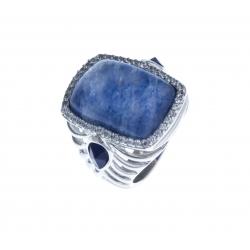 Bague argent rhodié 7,6g - sodalite - quartz bleu - zircons - T 50 à 60