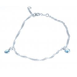 Chaine cheville 2,6g - cristaux bleus - 23+2cm