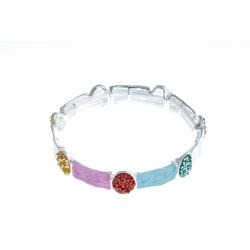Bracelet fantaisie - époxy multicolore - élastique