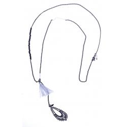 Sautoir fantaisie - finition rhodiée noire - perles et pompon 70cm