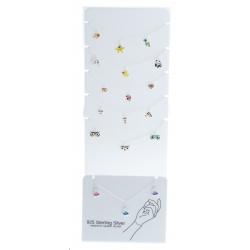 """Présentoir 6 bracelets argent 7g """"animaux"""" - 17,5cm"""