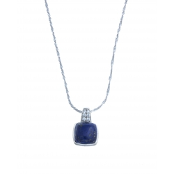 Collier argent 4g - lapis - zircons - 40 cm