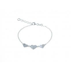 """Bracelet argent 3,4g """"3 cœurs"""" - 16+2,5cm"""