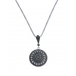 Collier argent rhodié 8g - marcassites - 45 cm