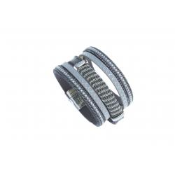 Bracelet fantaisie gris strass - 19,5 cm