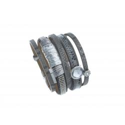 Bracelet fantaisie gris strass - cristal  - 19,5 cm