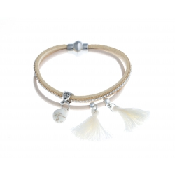 Bracelet fantaisie beige strass et pompon - 20 cm