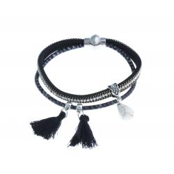 Bracelet fantaisie noir strass et pompons - 20 cm