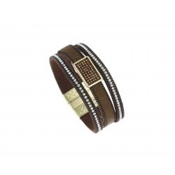 Bracelet fantaisie marron strass - finition dorée - 19,5 cm