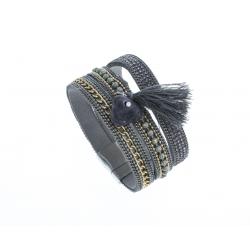 Bracelet fantaisie gris strass - chaine doré - pompon - 19,5 cm