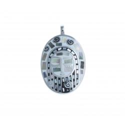 Pendentif acier - émail - nacre - signe du zodiaque : Vierge