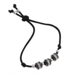 Bracelet argent rhodié 4g - céramique noire - 3 beads - zircons