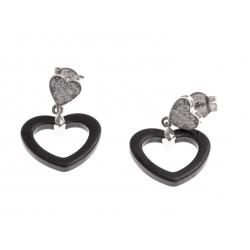 """Boucles d'oreille argent rhodié 2,2g - """"coeurs"""" - céramique noire – zircons"""