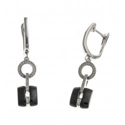 Boucles d'oreille argent rhodié 6,2g - céramique noire - zircons