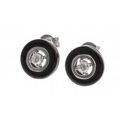 Boucles d'oreille argent rhodié 2,7g - céramique noire - zircons