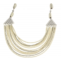 Collier fantaisie perles blanches et métal argenté - 63+7 cm