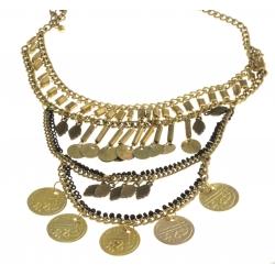 Collier fantaisie - metal doré et perles noires - 38+7 cm