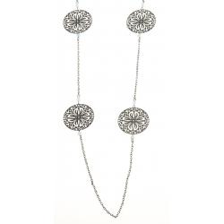 Sautoir fantaisie - finition noire, perles et motifs ajourés - 95 cm