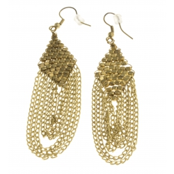 Boucles d'oreille fantaisie métal doré - 8 cm
