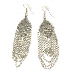 Boucles d'oreille fantaisie métal argenté - 8 cm