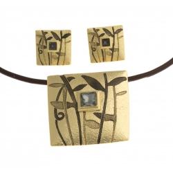Parure fantaisie - collier époxy multicolore - 41+8 cm + boucles assorties