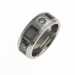 Bague acier - nacre abalone inscrustée - ep, 8mm - zircon - T 54/57