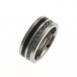 Bague acier - fibres de carbone incrustée - ep, 8mm - T 54/57/60