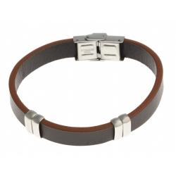 Bracelet acier - homme - cuir marron et orange - 21 cm